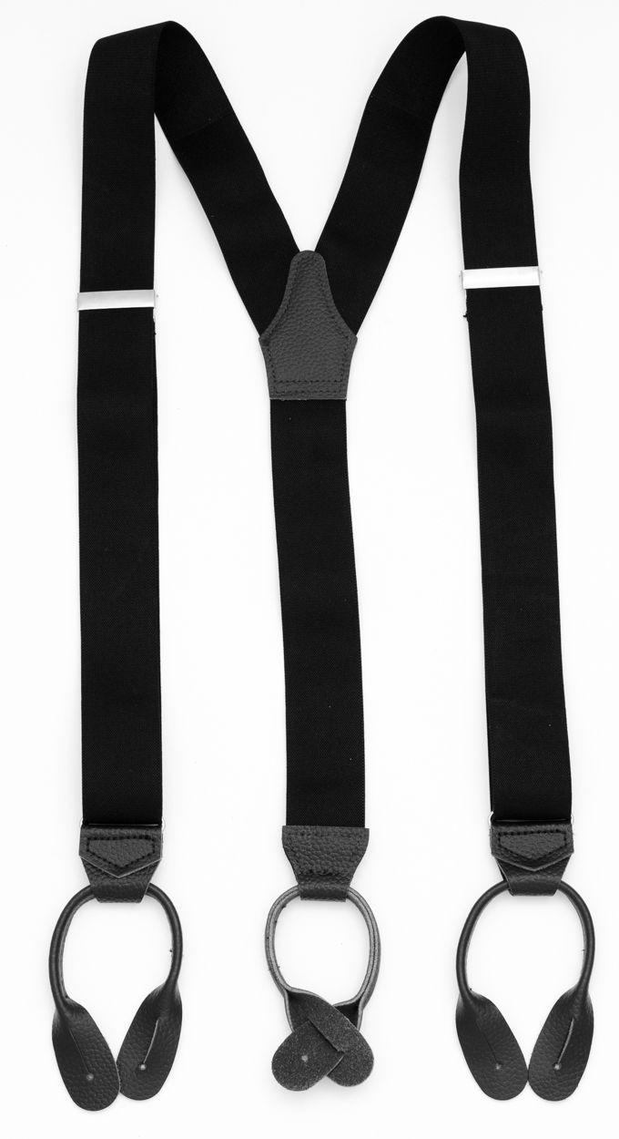 Svarta bukseseler med lærstropp. Kjøp online | Neckwear