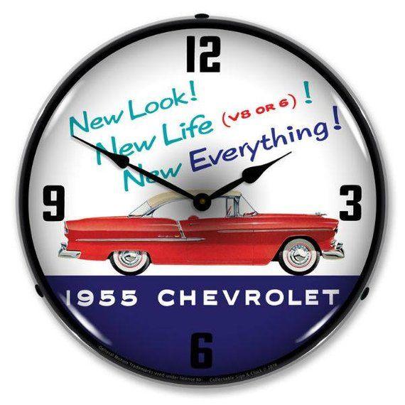 Antique Style 1955 Chevrolet New Look Led Etsy Wall Clock Light Clock Wall Clock