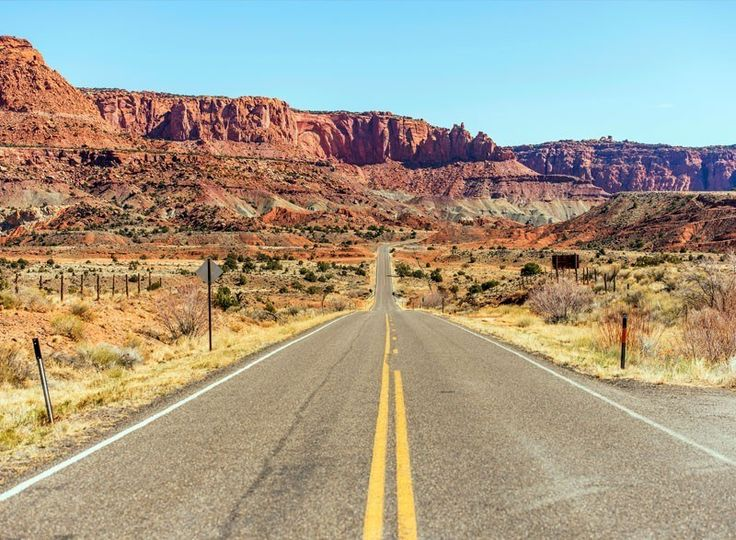 Straight Highway to Capitol Reef National Park in Utah. | 7 National Parks with the Most Scenic Drives