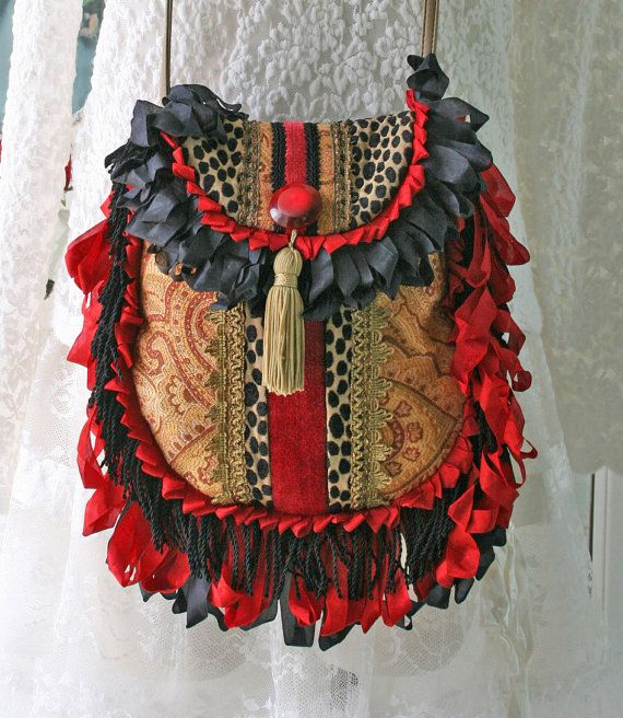 Bohemian Handbag Purse, Gypsy Purse, Hippie Bag, Shoulder Bag, Red Black Gold Crossbody Bag ♡