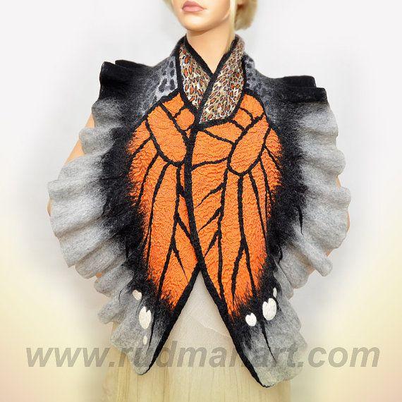 Felted scarf Wrap Shawl Wool Silk Monarch butterfly by RudmanArt, $129.00