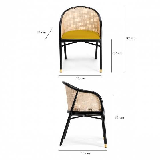 Fauteuil Cavallo Noir Cannage Et Velours Jaune With Images Outdoor Chairs Furniture Outdoor Decor