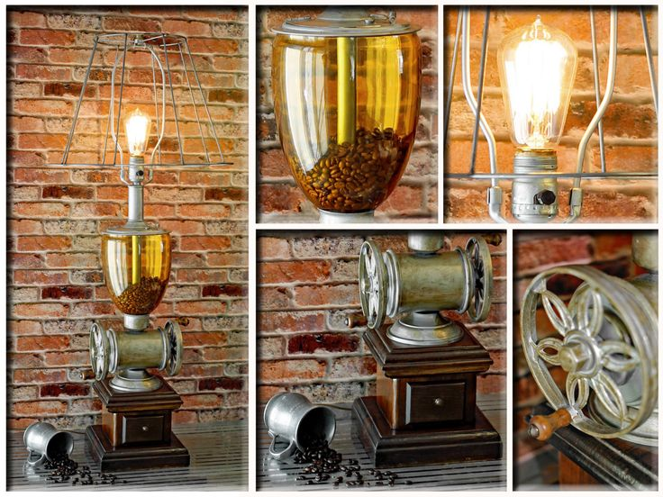 Vintage Amber Glass Canister Wood Base Metal Steampunk Gears Industrial Coffee Grinder Table Lamp Wire Lampshade Edison Bulb by Loftyideas4u by Loftyideas4u on Etsy