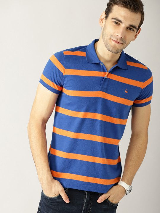 e15bb2c196c13 United Colors of Benetton Men Blue   Orange Striped Polo Collar T-shirt -