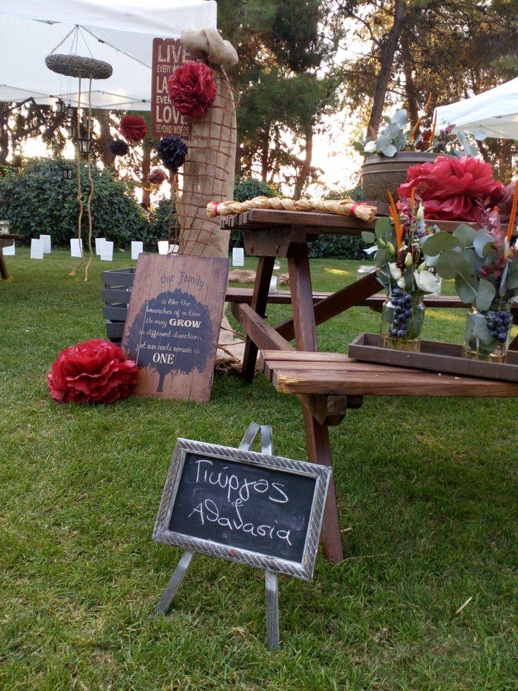 Rustic wedding welcome table.
