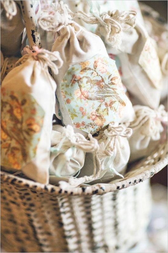 bird decorated favor bags