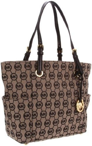 Michael Kors Grayson Signature / Monogram Tote - Side Pockets - Black (MK BAGS, PURSES, HANDBAGS, TOTES)