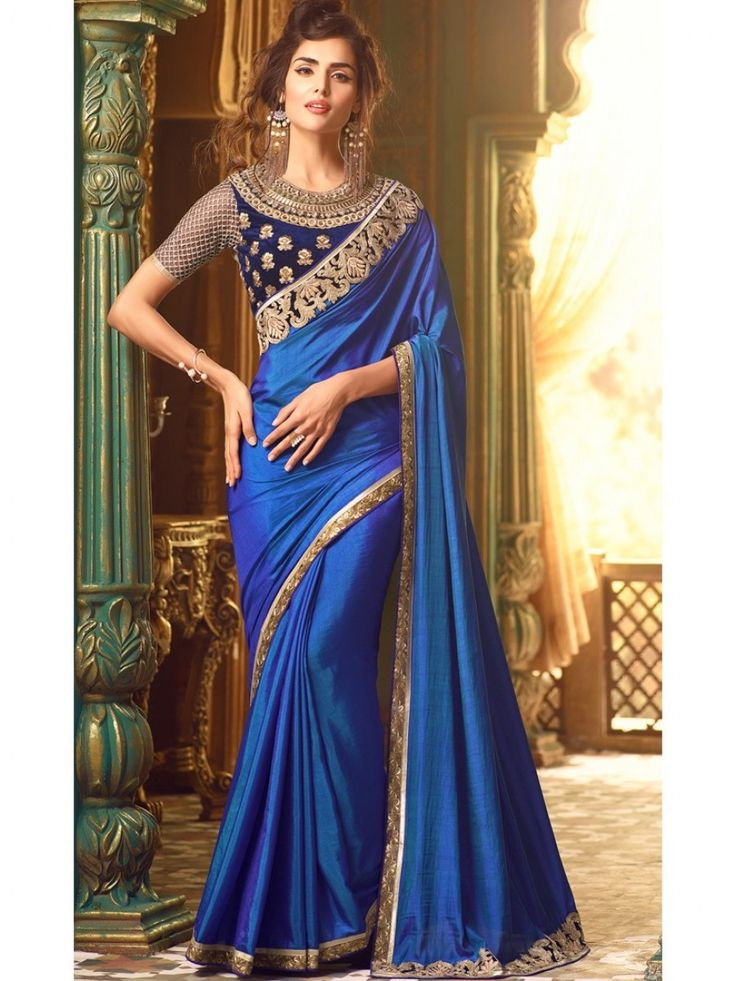 Dark Blue And Gold Embroidered Silk Designer Saree