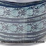 Motivband Ornamente Blau mit Glitter- dieses bezaubernde Motivband ist mit Ornamenten in Blau und mit Glitter gestaltet.