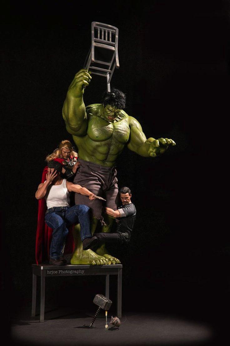 Superhero Action Figures Arranged In Humorous and Human-like Scenarios by Edy Hardjo