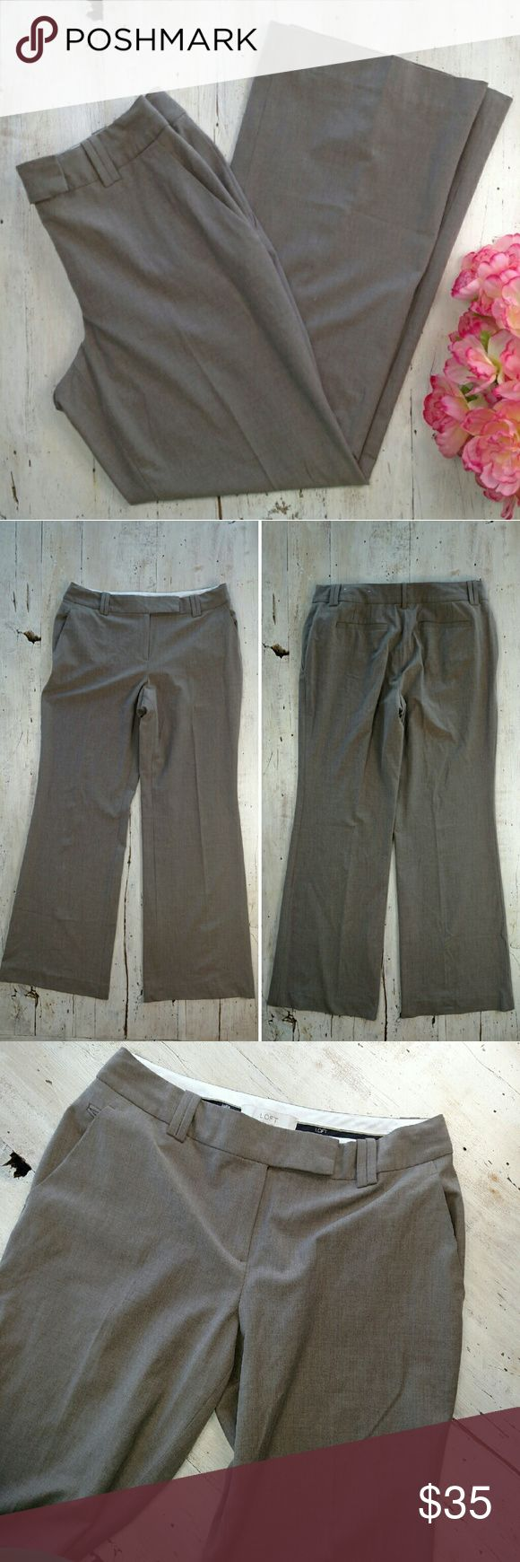 """LOFT """"Julie"""" Brown Pant Made for the ladies who have a smaller waist but curvy hips. Slight boot cut pant with a relaxed leg. 32"""" inseam, 10"""" rise, and 16.5"""" across waist; laid flat. 51% rayon 46% polyester 3% spandex. No trades! EUC LOFT Pants"""
