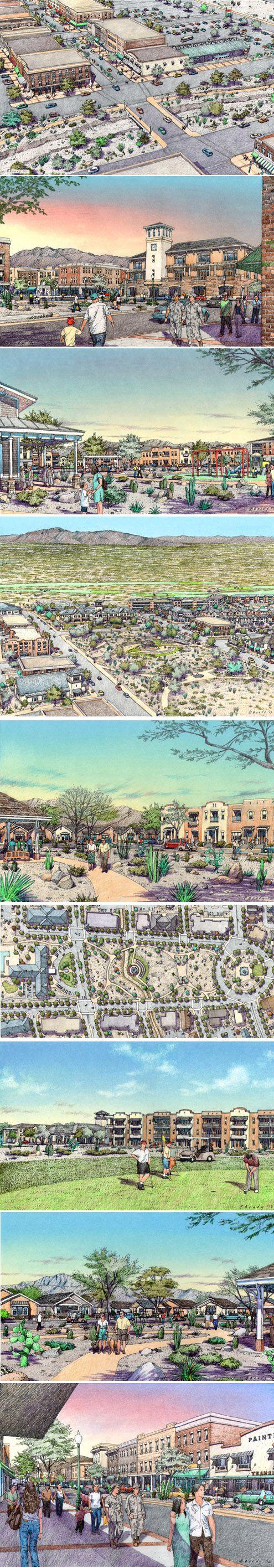 Urban Planning Rendering for El Paso, TX.  URS Corporation.  Renderings by Bondy Studio.