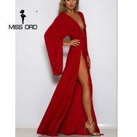 Missord 2017 sexy глубокий v с длинными рукавами спинки высокая сплит макси элегантный плиссированные dress ft8297