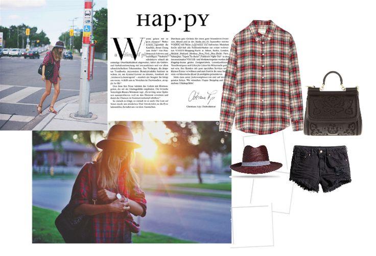 Уличный лук с клетчатой рубашкой, шляпой и сумкой dolce&gabbana, fashion street look