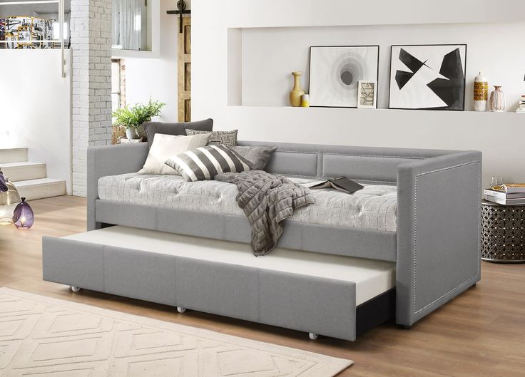 DealBeds.com - Baxton Studio Raymond Modern Grey Fabric Nail Head Trim Twin Daybed with Roll-Out Trundle, $499.99 (https://www.dealbeds.com/baxton-studio-raymond-modern-grey-fabric-nail-head-trim-twin-daybed-with-roll-out-trundle/)