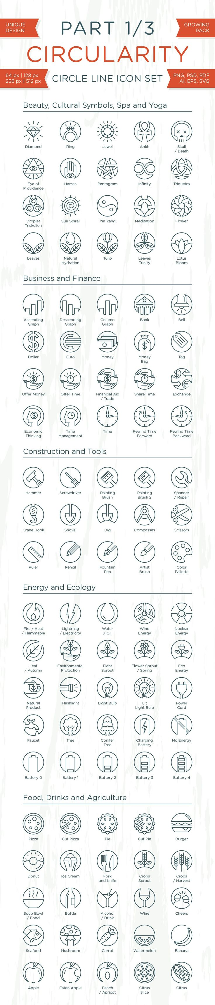 Circularity - Circle Line Icons Collection for sale - circle, bundle, set, collection, icons, circle icons, pixel perfect, vector, line, beauty icons, spa icons, yoga icons, cultural symbols, business icons, finance icons, construction icons, tool icons, energy icons, ecology icons, food icons, round, circularity, outline, simple, web, mobile, android, stroke, symbol, creative, design,