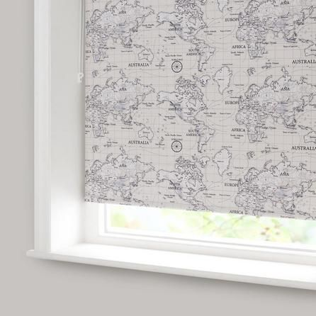 Maps Natural Blackout Roller Blind | Dunelm