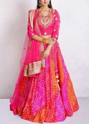 Pink georgette lehenga #traditional #bandhej #lehenga #vasansijaipur #vasansi #jaipur  Shop Now: http://www.vasansi.in/lehengas/traditional-lehengas?p=2