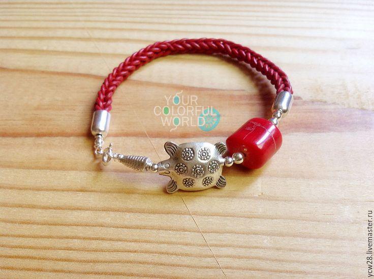 Купить Коралловая черепашка // Coral Turtle - украшения ручной работы, Браслет ручной работы