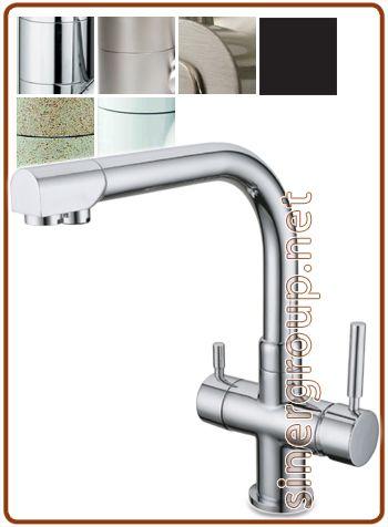 "10004007-CR 4007 rubinetto mix 4 vie 3/8"" Cromo Per Depuratori Acqua Osmosi Inversa Refrigeratori Gasatori"