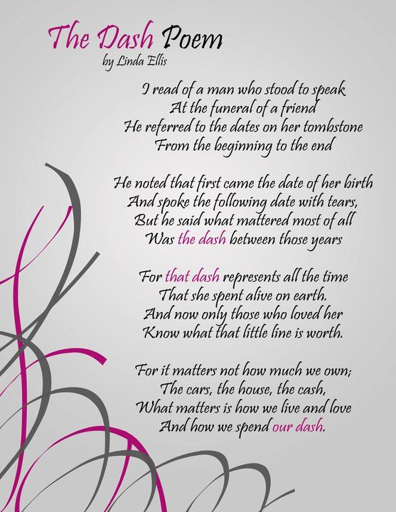 """Celebrating my birthday with much gratitude for everyone that has been and will be a part of my """"Dash"""". For those who are not familiar with the poem, it is based on that little line on a tombstone, between the dates of birth and death. Every day we spend on earth is ultimately represented in that little """"dash."""" Live Your Dash by Linda Ellis: http://youtu.be/1OAWNb8ZoHY  via @YouTube"""