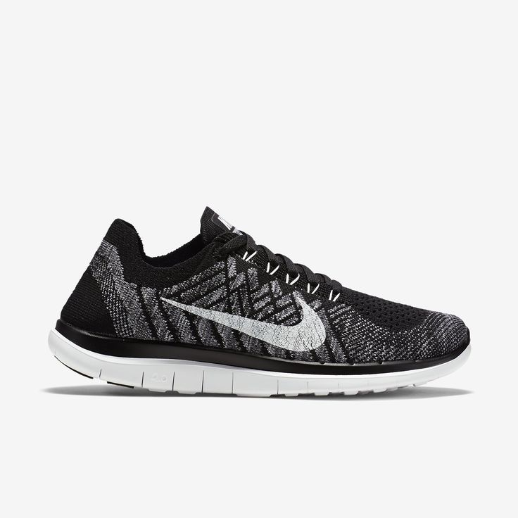 womens nike free 4.0 flyknit shoes black gray white background