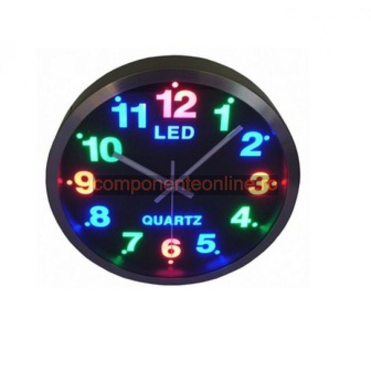 Ceas de perete, cu cifre iluminate cu LED-uri, 300 mm - 110935