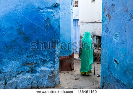 Blue City of Jodhpur, Rajasthan, India. Urban scene. Jodhpur is a popular tourist town. - stock photo