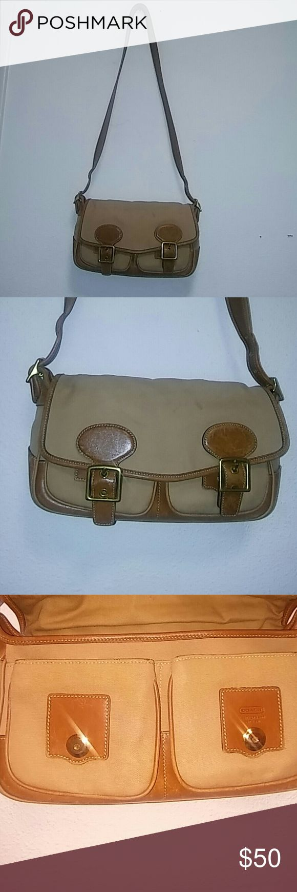 Coach Legacy Flap Canvas Purse Coach Legacy Flap Canvas Purse.  Tan with Brown Leather strap and trim. Coach Bags Crossbody Bags