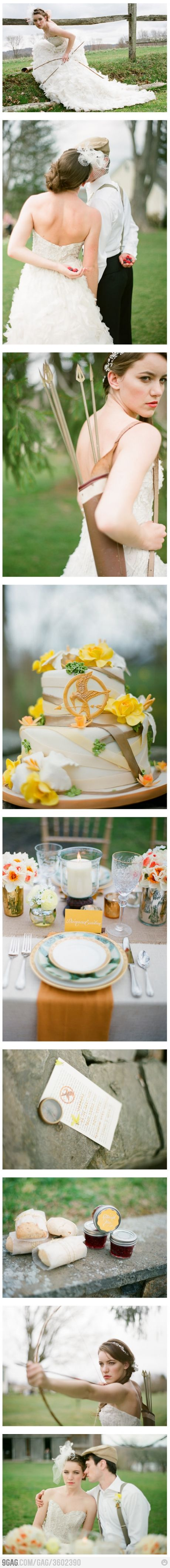 """""""The Hunger Games"""" Themed Wedding. I'd say they're fans: Ideas, Games Theme, The Hunger Games, Stuff, Dreams, Hunger Games Wedding, Theme Wedding, Wedding Theme, Themed Weddings"""