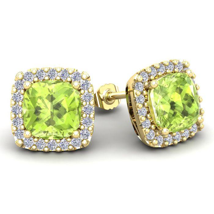0bbfda3d8 5 3/4 Carat Cushion Cut Peridot and Halo Diamond Stud Earrings In 14 Karat