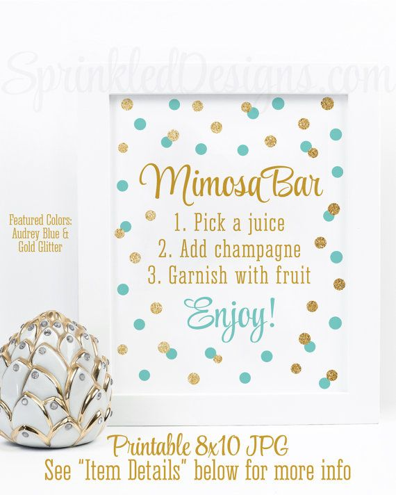 Mimosa Bar Sign - Audrey Blue Aqua Gold Glitter Baby or Bridal Shower Brunch Ideas - Monograms and Mimosas Shower - Sip N See Printable Sign