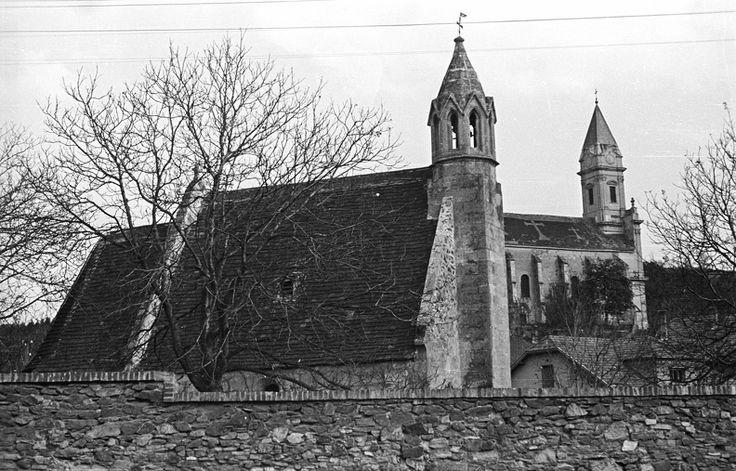 Kertváros. Sopronbánfalvi Mária Magdolna-templom, háttérben a Pálos-karmelita templom és kolostor. 1955