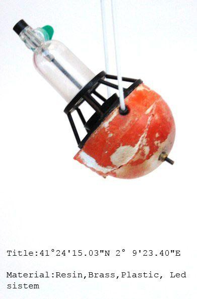 """Diogo Alves - """"olissipo por um funil"""" -  - title 41°24'15.03"""" N 2° 9'23.40""""E - resin, brass, plastic, led system"""