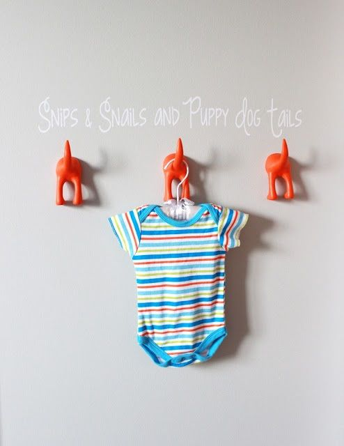 These adorable puppy dog tails from @IKEA USA are the perfect accent to a baby boy nursery! #nursery: Orange Grey, Boys Nurseries, Grey Nurseries, Hooks, Baby Boys, Delight Note, Vinyls Wall Decals, Silhouette Cameo Vinyl, Nurseries Ideas