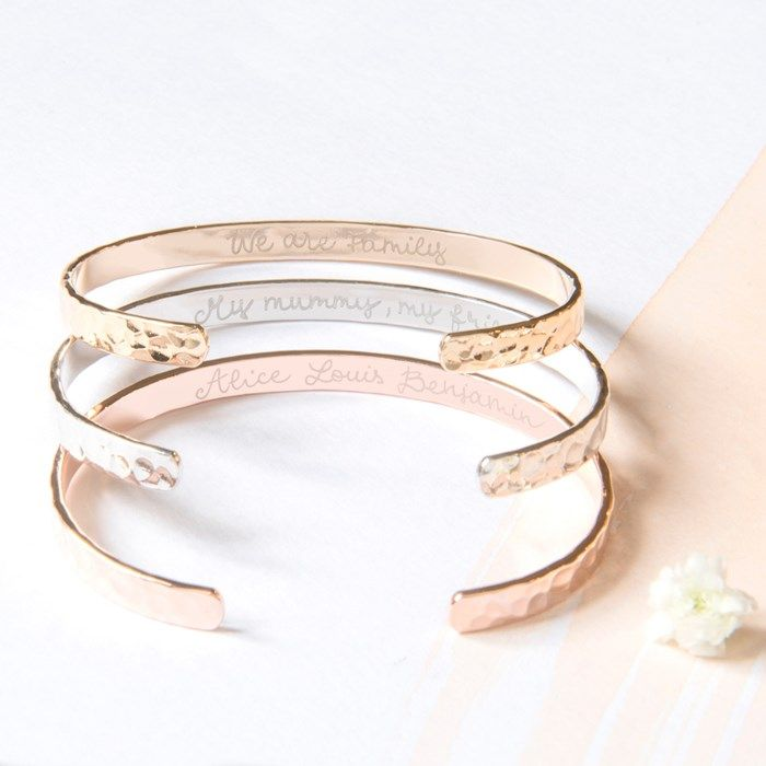 Personalised Merci Maman Hammered Open Bangle | GettingPersonal.co.uk