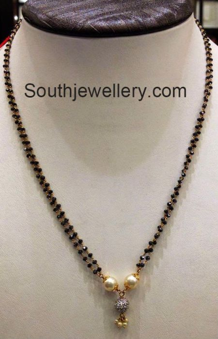 Simple blackbeads chain with south sea pearls