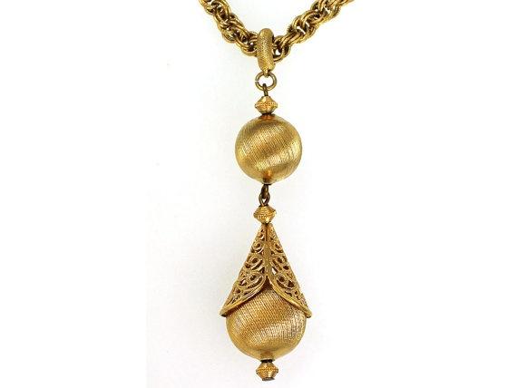 Vintage Monet Necklace 1960s Gold Tassel by CarnabyVintageJewels, $24.00
