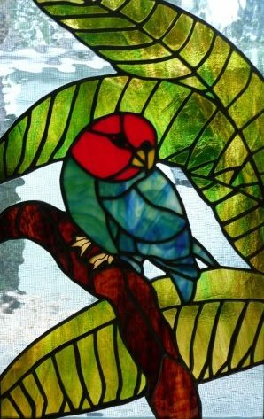 Tropical Stained Glass Panel - Stained Glass Parrot and Palm Tree ... artfire.com