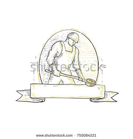 Mono line illustration of a foundry iron smelting worker holding steel ladle or bowl viewed from side set inside oval with banner ribbon underneath.  #foundry #monoline #illustration