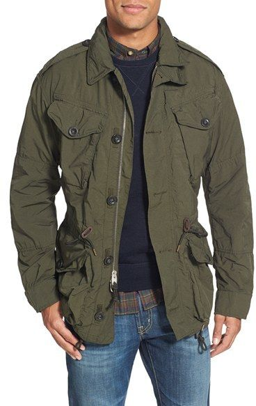 Military Jacket. American Rag, Calvin Klein and Ralph Lauren offer comfortable military jackets that complement different outfits. A polyester and machine-washable military jacket is a fashion statement worth investing in.