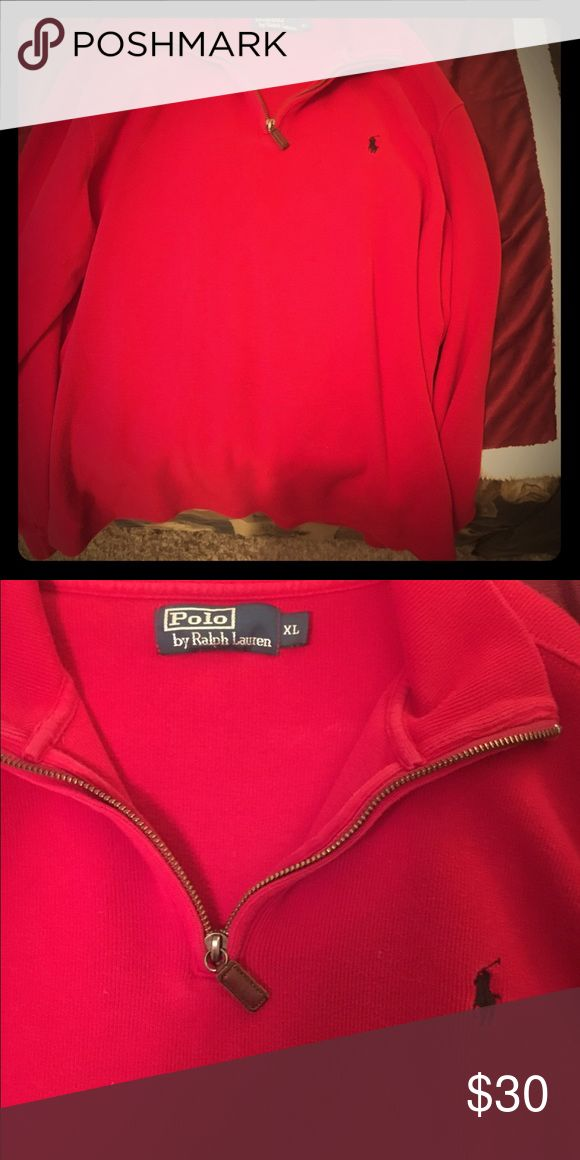 Polo Ralph Lauren Men's Half-Zip Sweater Men's XL Polo Ralph Lauren Red Half-Zip Sweater w/ leather zipper. Polo by Ralph Lauren Jackets & Coats