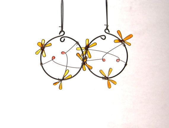 Flower resin dangles elegant earrings amber by TheHappyLollipop
