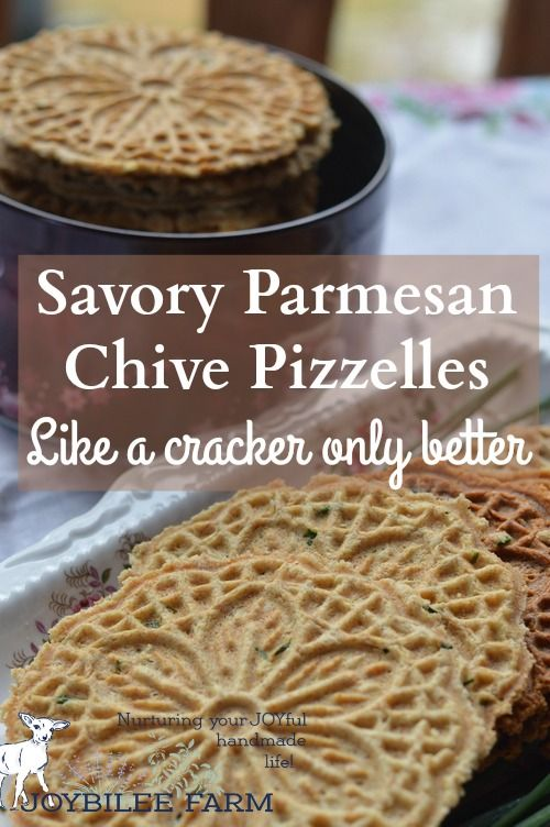 Savory pizzelles are better than the finest, high end store-bought cracker. A base of eggs, butter, flour, and baking powder can be spiced up with grated cheese, sesame seeds, flax seed, nuts, onions, garlic, fresh herbs, lemon peel, or spices. And the recipe is enough to please 4 to 6 people for appetizers. Double the recipe for a bigger audience.