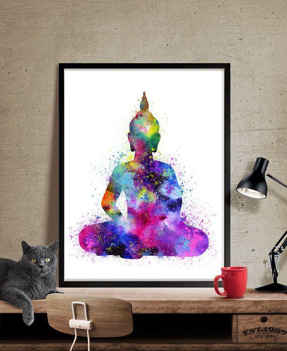 Sticker Bouddha, Bouddha peinture, Yoga Print, Bouddha aquarelle Art Print…