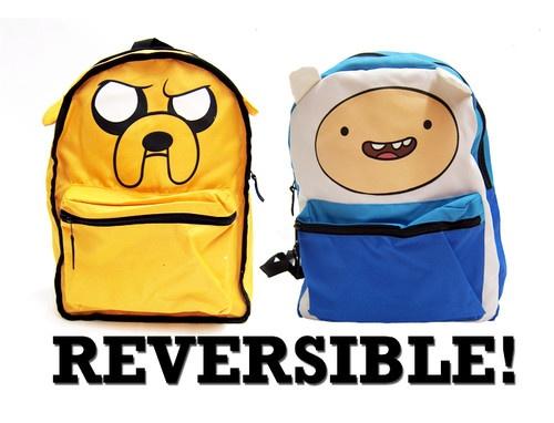 Adventure Time Finn Jake Backpack School Bag Reversible