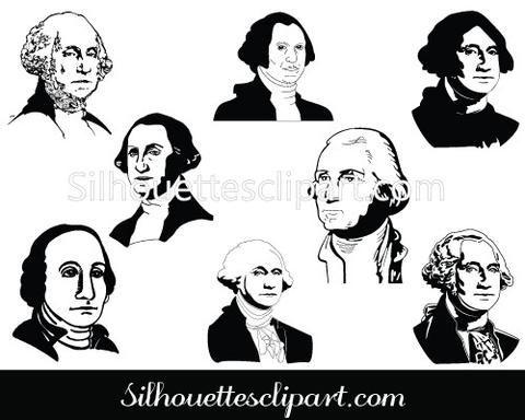 George Washington Silhouette Clip Art pack