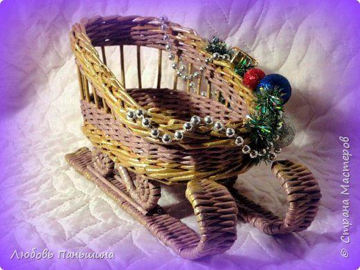 Поделка изделие Новый год Декупаж Плетение В ожидании нового года Бумага газетная Картон Трубочки бумажные фото 12
