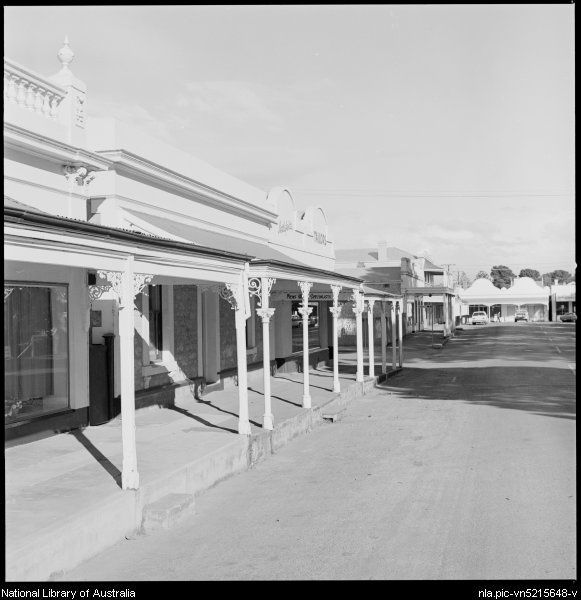 Shop fronts along Albyn Terrace, Strathalbyn, South Australia, ca. 1970