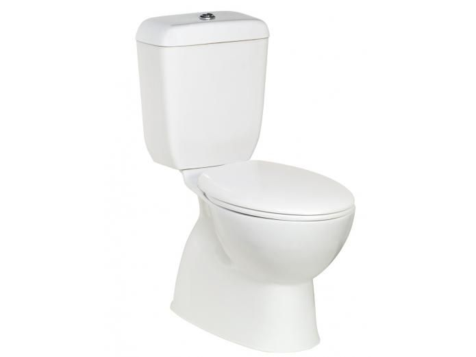 Posh Dominique Close Coupled Toilet Suite.  Full Ceramic suite with soft close seat